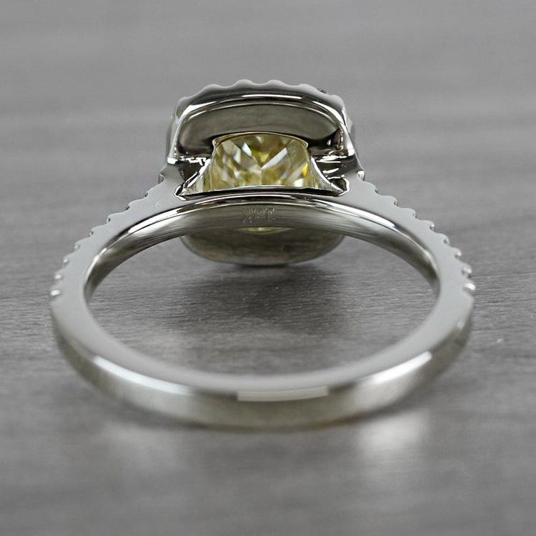 Fancy Yellow Cushion Cut Diamond Halo Ring angle 4
