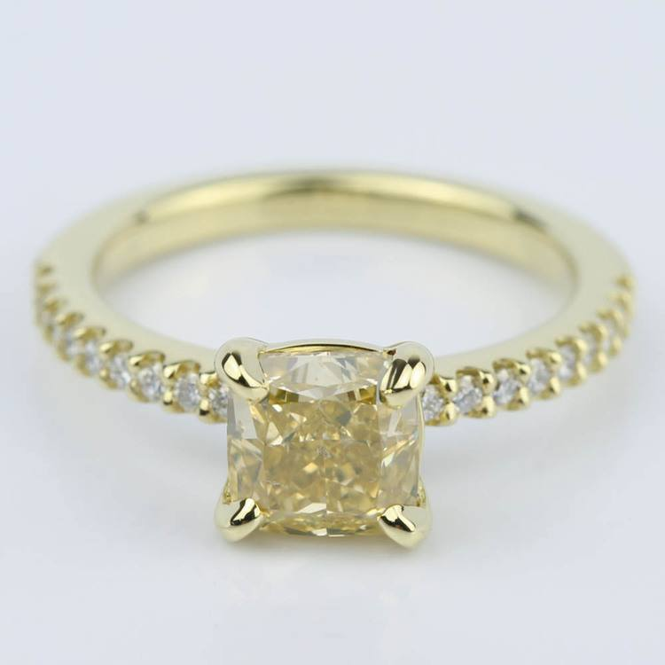 Fancy Yellow Cushion Diamond Engagement Ring (1.52 ct.)