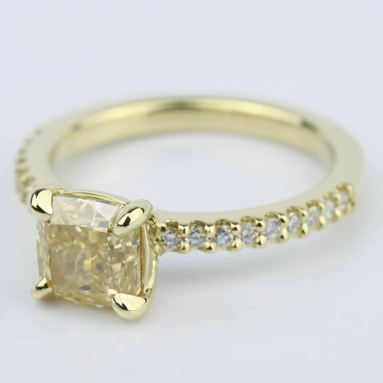 Fancy Yellow Cushion Diamond Engagement Ring (1.52 ct.) angle 2