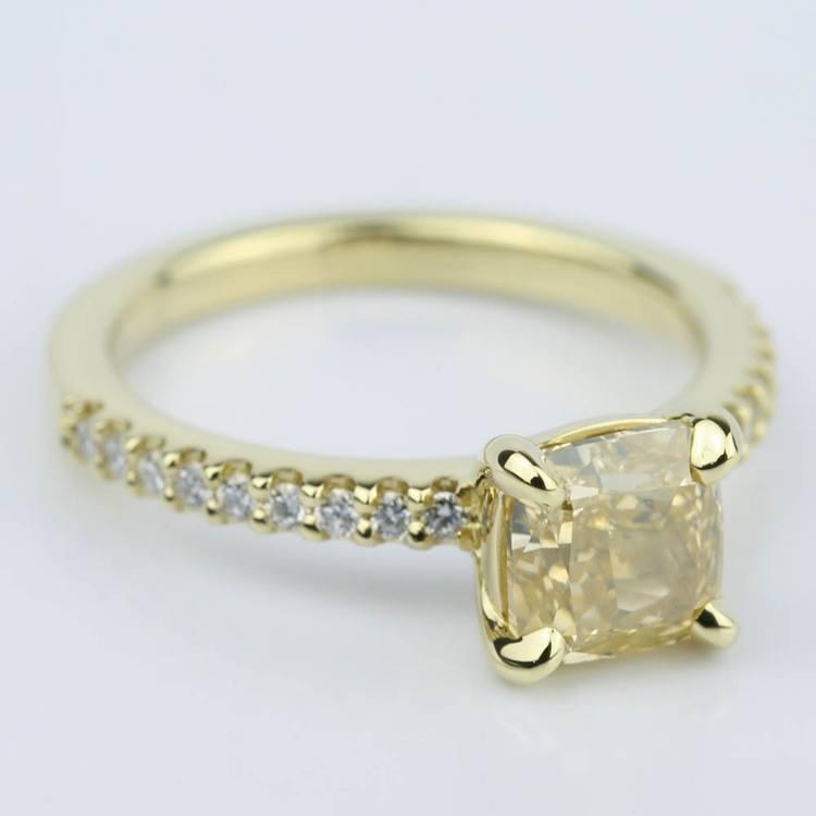 Fancy Yellow Cushion Diamond Engagement Ring (1.52 ct.) angle 3