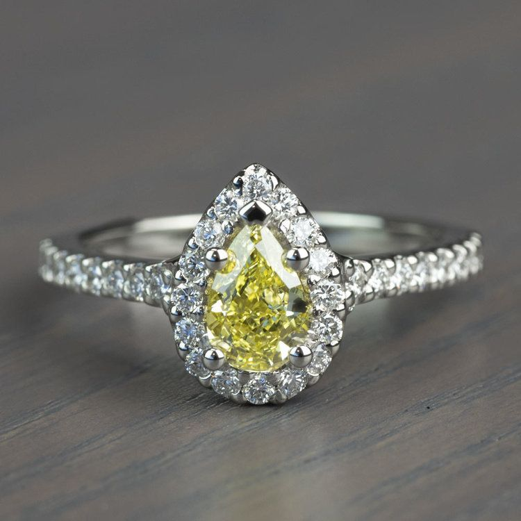 Fancy Yellow Pear Diamond Halo Engagement Ring