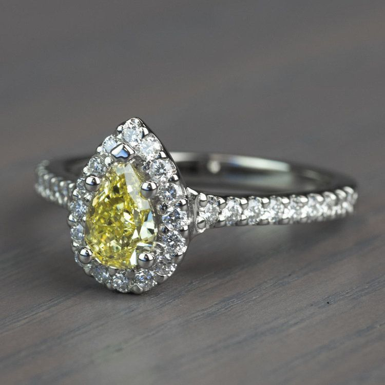 Fancy Yellow Pear Diamond Halo Engagement Ring angle 2