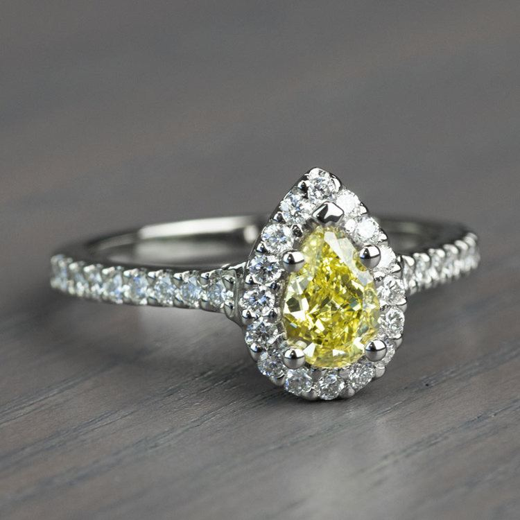 Fancy Yellow Pear Diamond Halo Engagement Ring angle 3