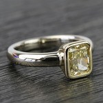 Fancy Yellow Radiant Diamond Bezel Solitaire Engagement Ring (1 Carat) - small angle 3