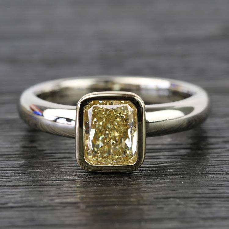 Fancy Yellow Radiant Diamond Bezel Solitaire Engagement Ring (1 Carat)