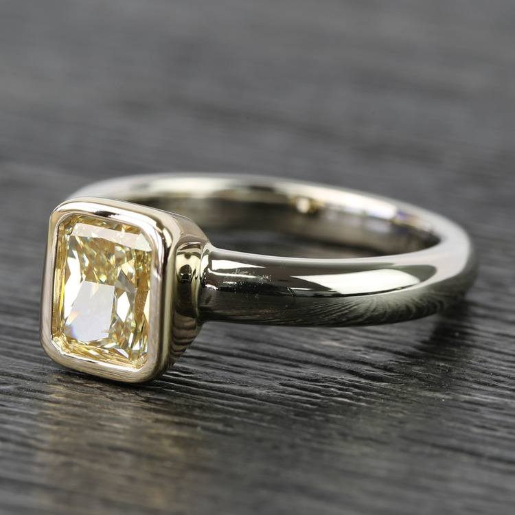 Fancy Yellow Radiant Diamond Bezel Solitaire Engagement Ring (1 Carat) angle 2