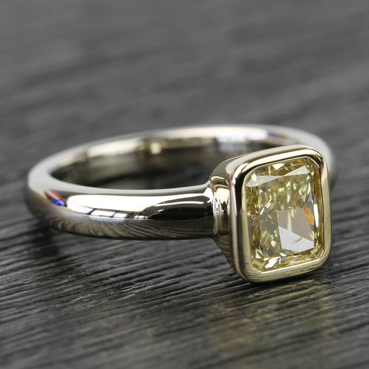Fancy Yellow Radiant Diamond Bezel Solitaire Engagement Ring (1 Carat) angle 3