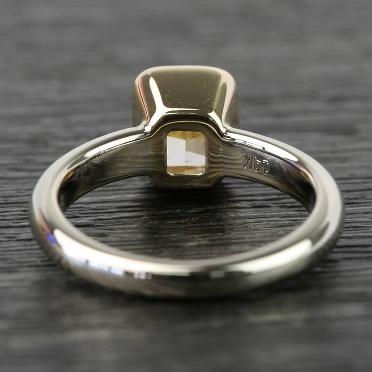 Fancy Yellow Radiant Diamond Bezel Solitaire Engagement Ring (1 Carat) angle 4
