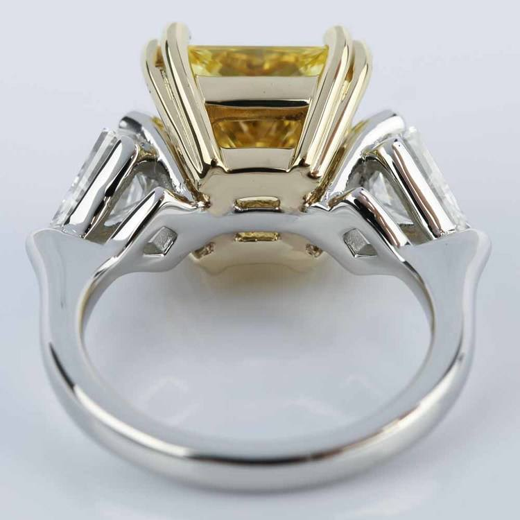 Fancy Yellow Radiant Engagement Ring with Kite Shape Diamonds angle 4