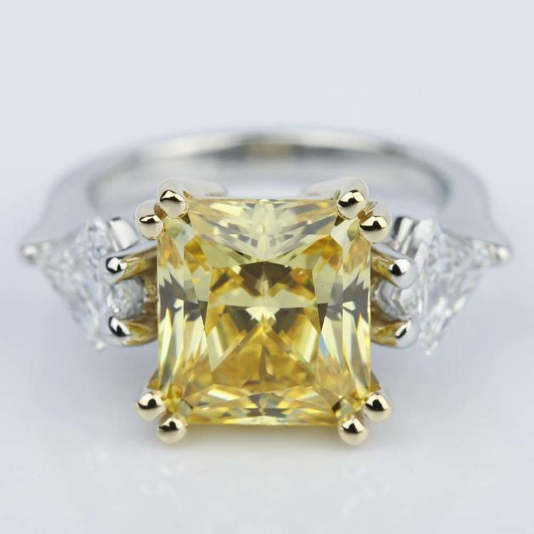 Fancy Yellow Radiant Engagement Ring with Kite Shape Diamonds
