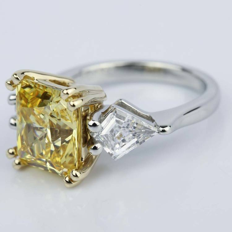 Fancy Yellow Radiant Engagement Ring with Kite Shape Diamonds angle 2
