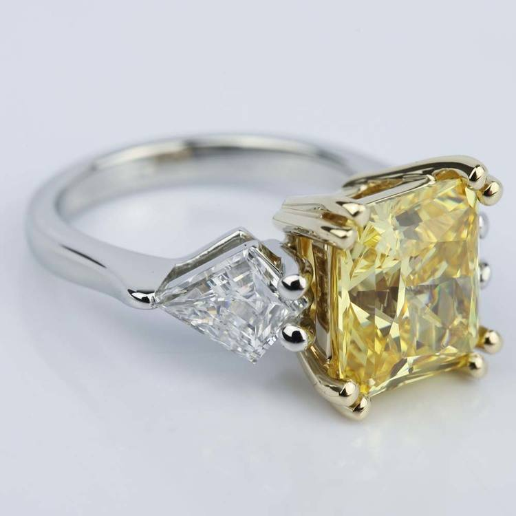 Fancy Yellow Radiant Engagement Ring with Kite Shape Diamonds angle 3