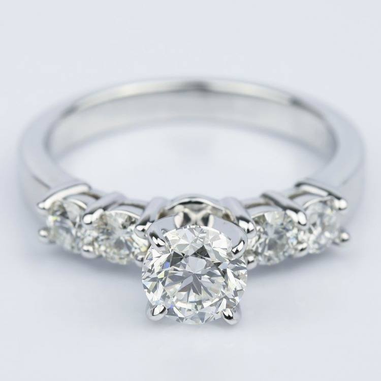 Round Five-Diamond Engagement Ring in White Gold (0.97 ct.)