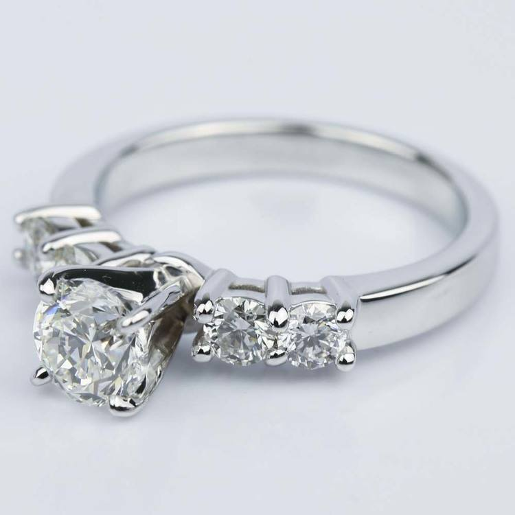 Round Five-Diamond Engagement Ring in White Gold (0.97 ct.) angle 2