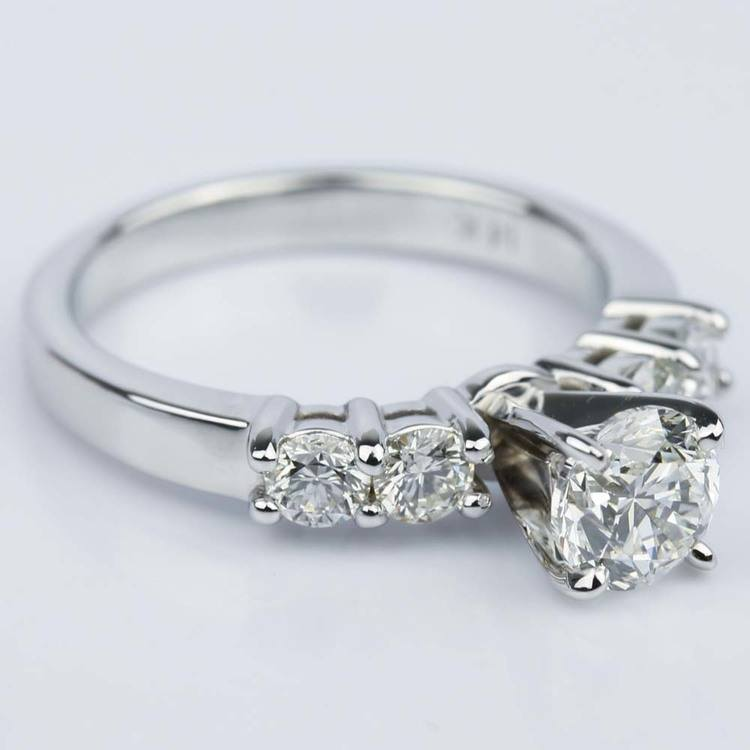 Round Five-Diamond Engagement Ring in White Gold (0.97 ct.) angle 3