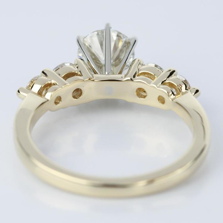 Five Diamond Shared Prong Custom Engagement Ring in Yellow Gold (0.94 ct.) angle 4