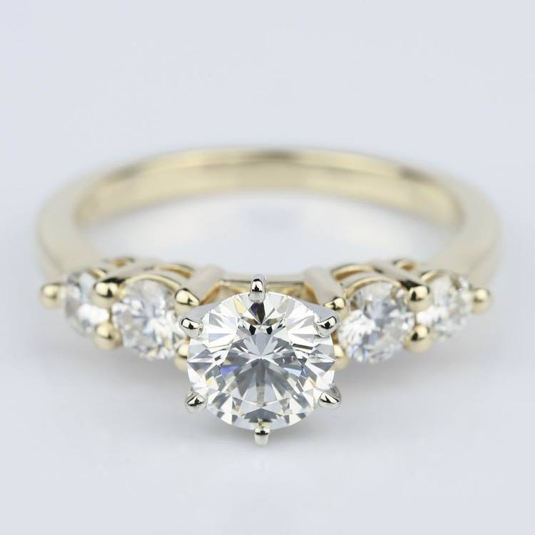 ring shadow in rings table five round platinum down engagement trellis cut stone jp ctw diamond