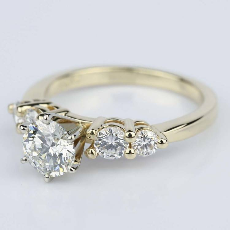 Five Diamond Shared Prong Custom Engagement Ring in Yellow Gold (0.94 ct.) angle 2