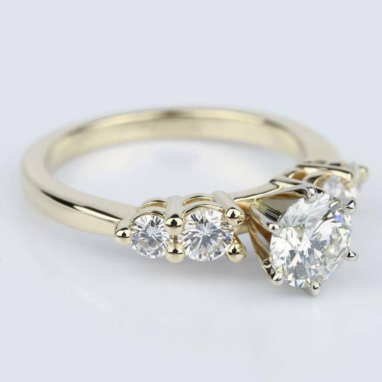 Five Diamond Shared Prong Custom Engagement Ring in Yellow Gold (0.94 ct.) angle 3