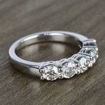 Five Diamond Wedding Band In White Gold (1.50 Carat) - small angle 3