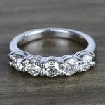 Five Diamond Wedding Band In White Gold (1.50 Carat) - small