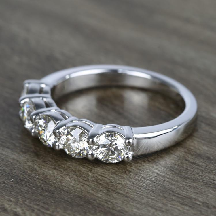 Five Diamond Wedding Band In White Gold (1.50 Carat) angle 2