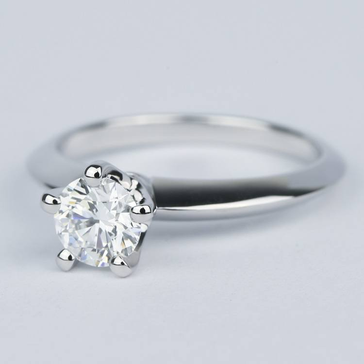 Five Prong Diamond Engagement Ring with Knife Edge Band angle 2