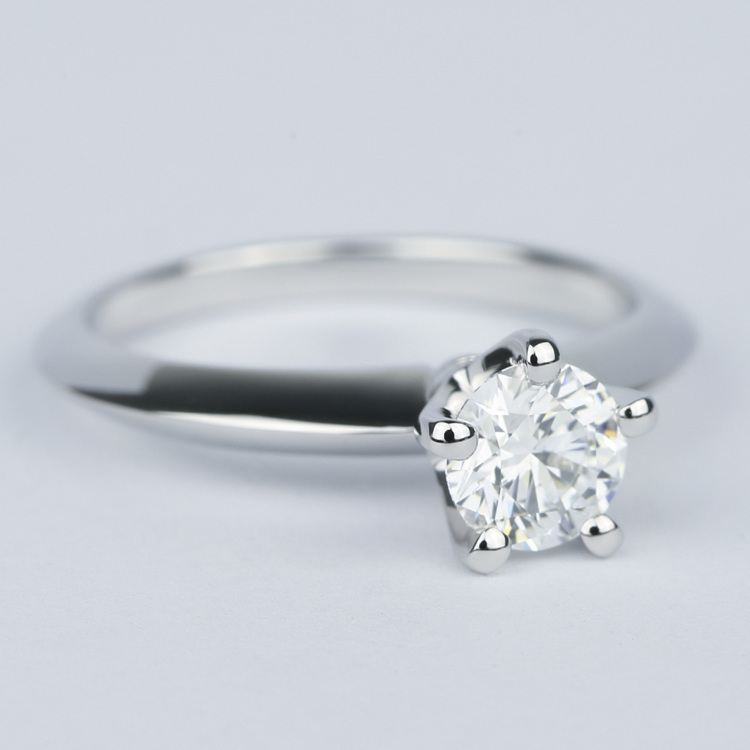 Five Prong Diamond Engagement Ring with Knife Edge Band angle 3