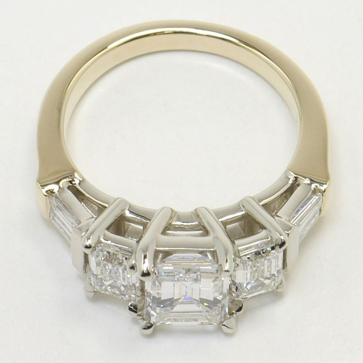 Five Stone Emerald & Baguette Engagement Ring angle 4