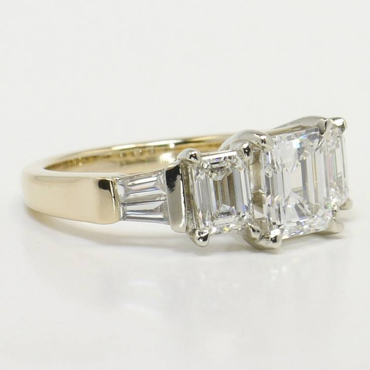 Five Stone Emerald & Baguette Engagement Ring angle 3