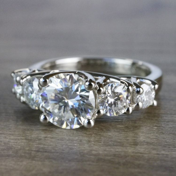 Five Stone Forever One Moissanite Diamond Engagement Ring angle 2