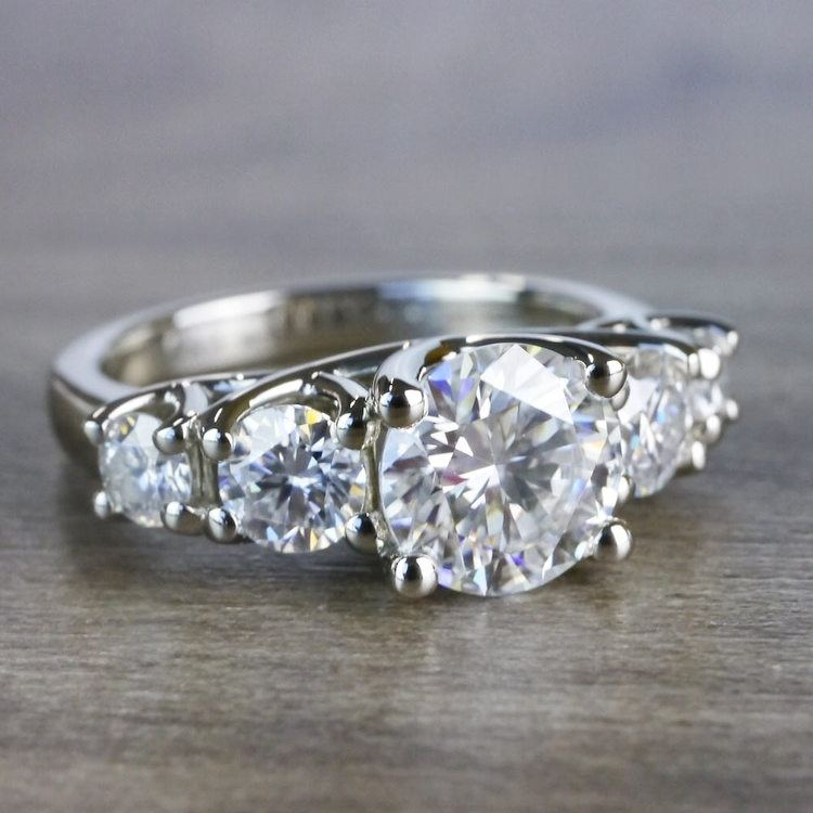 Five Stone Forever One Moissanite Diamond Engagement Ring angle 3