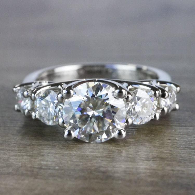 Five Stone Forever One Moissanite Diamond Engagement Ring
