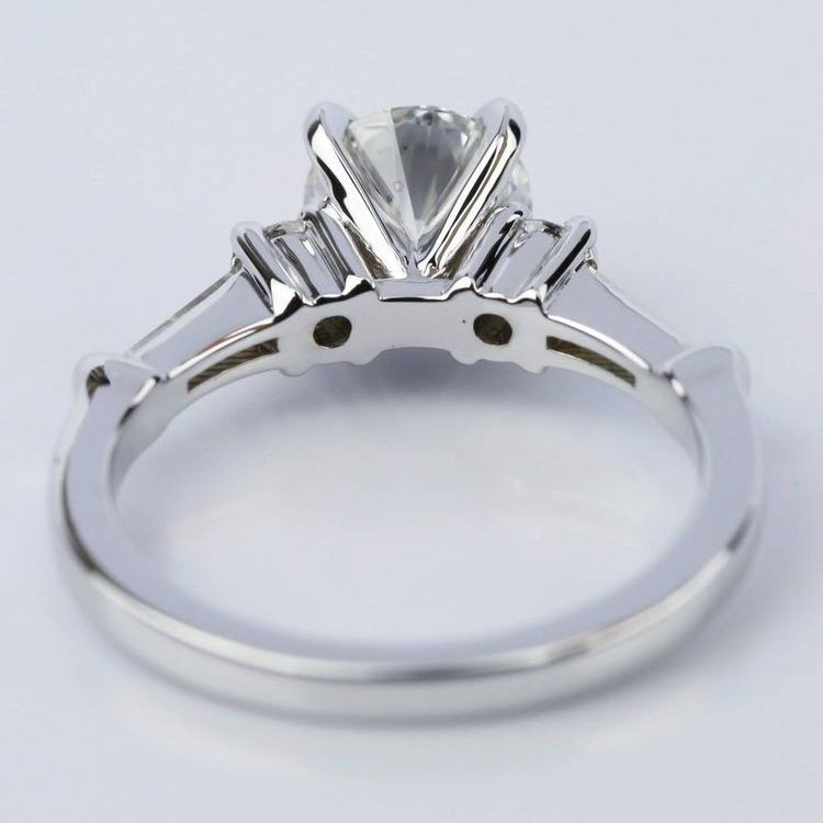 Five Stone Round and Tapered Baguette Diamond Engagement Ring in White Gold (1.20 ct) angle 4