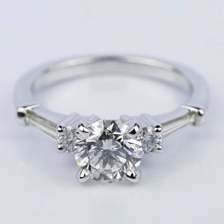 Five Stone Round and Tapered Baguette Diamond Engagement Ring in White Gold (1.20 ct)