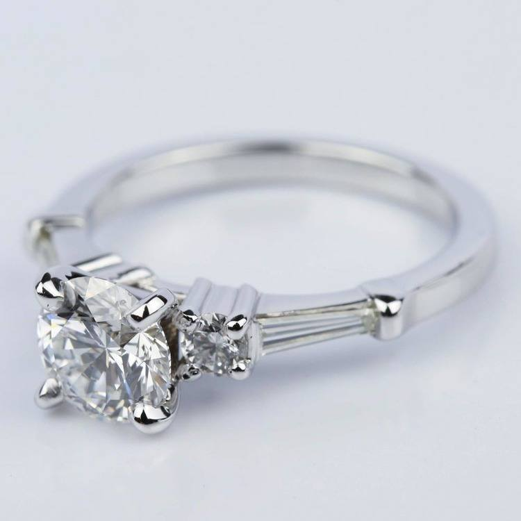 Five Stone Round and Tapered Baguette Diamond Engagement Ring in White Gold (1.20 ct) angle 2
