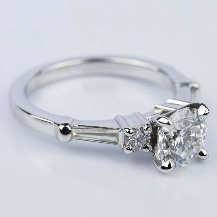 Five Stone Round and Tapered Baguette Diamond Engagement Ring in White Gold (1.20 ct) angle 3
