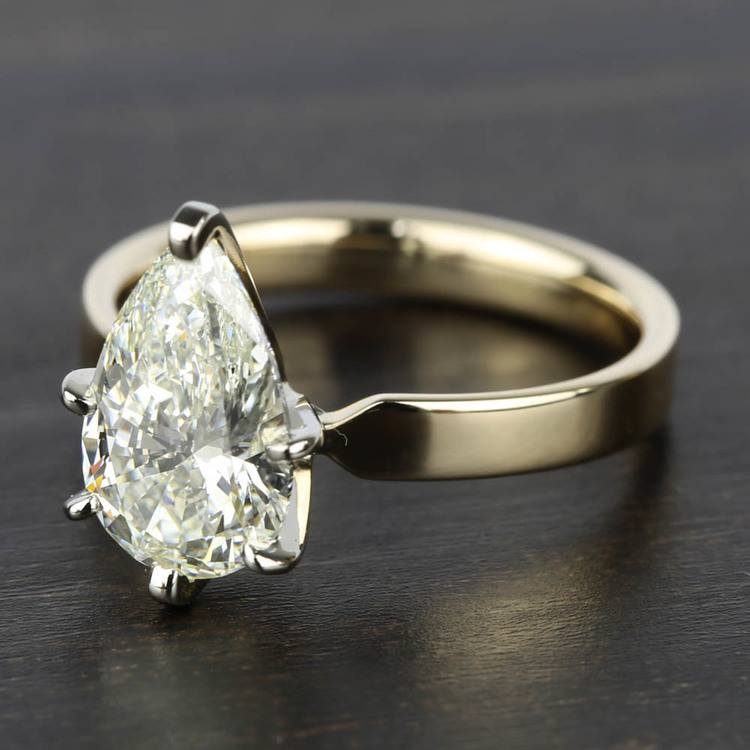 2 Carat Pear Diamond in Solitaire Gold Engagement Ring angle 2