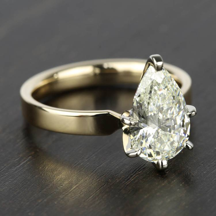 2 Carat Pear Diamond in Solitaire Gold Engagement Ring angle 3