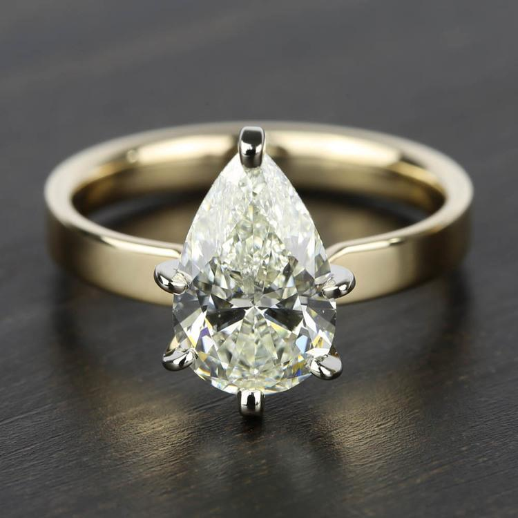 2 Carat Pear Diamond in Solitaire Gold Engagement Ring