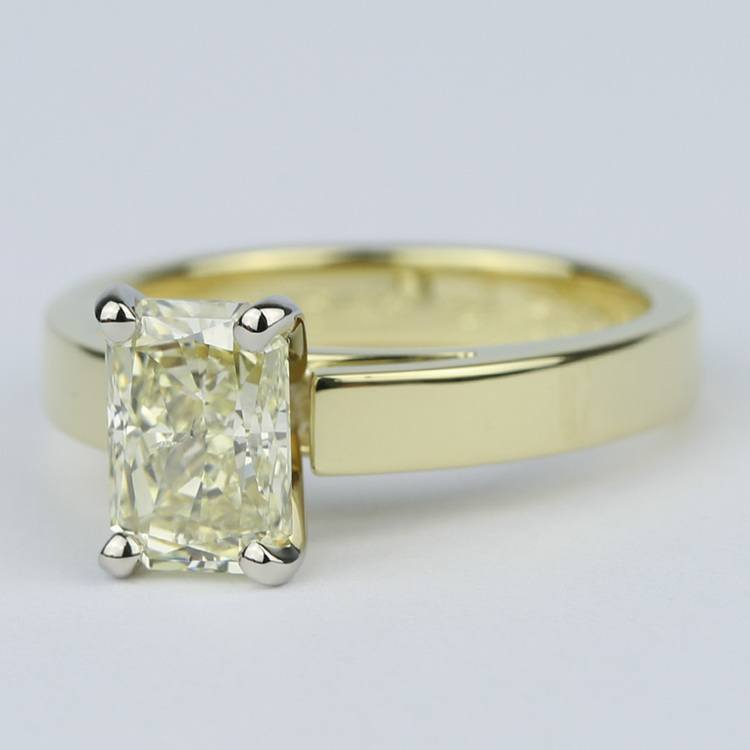Fancy Yellow Radiant Diamond with 18K Yellow Gold Solitaire angle 2