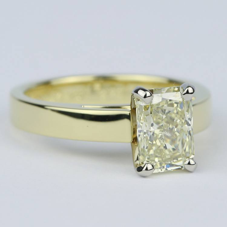 Fancy Yellow Radiant Diamond with 18K Yellow Gold Solitaire angle 3