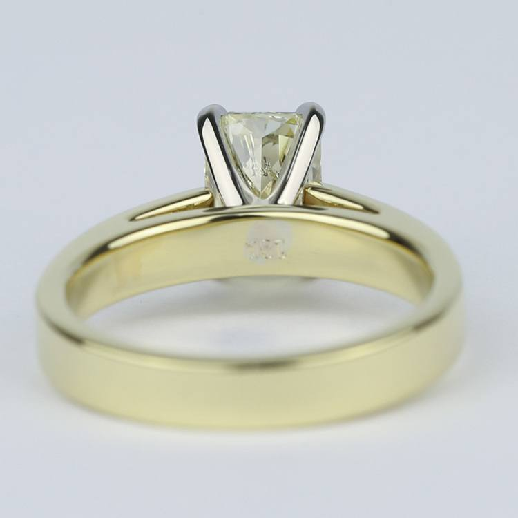 Fancy Yellow Radiant Diamond with 18K Yellow Gold Solitaire angle 4