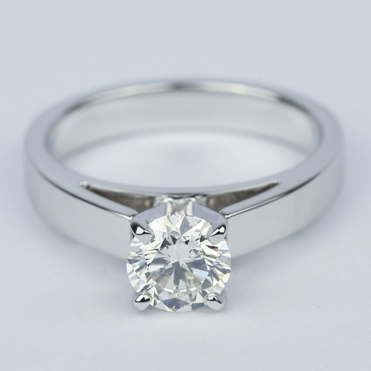Flat Cathedral Round Diamond Engagement Ring (0.90 ct.)