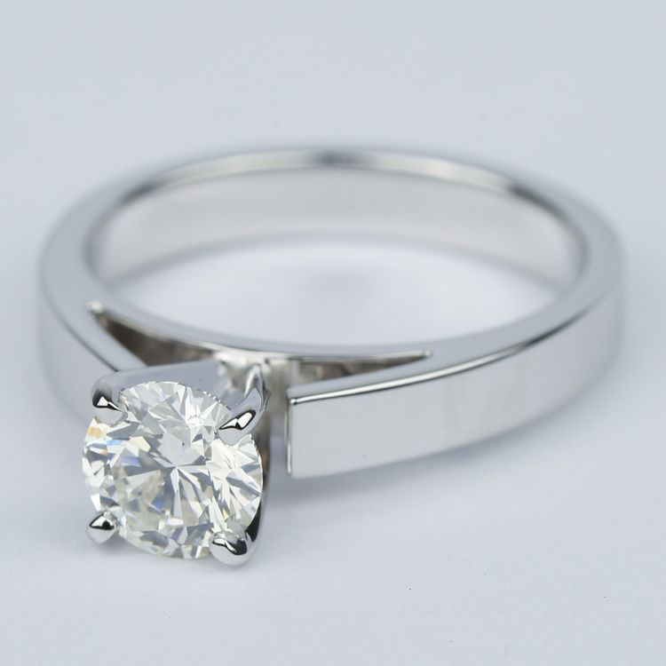 Flat Cathedral Round Diamond Engagement Ring (0.90 ct.) angle 2