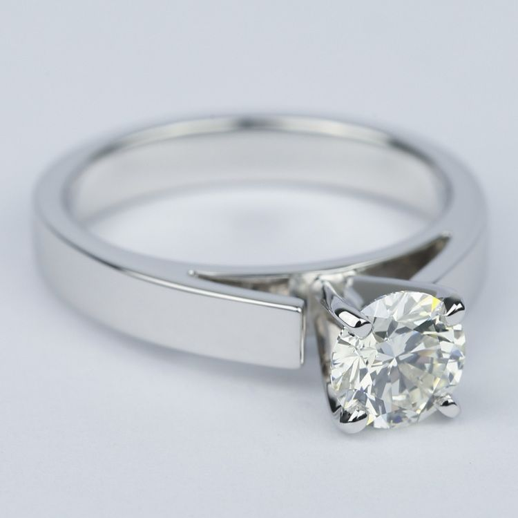 Flat Cathedral Round Diamond Engagement Ring (0.90 ct.) angle 3