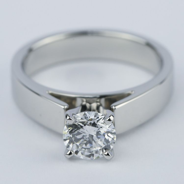 Flat Cathedral Solitaire Engagement Ring (1.01 ct.)