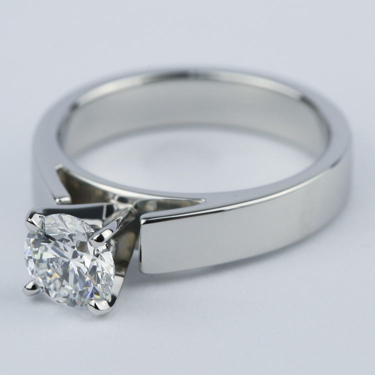 Flat Cathedral Solitaire Engagement Ring (1.01 ct.) angle 2