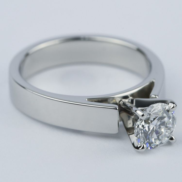 Flat Cathedral Solitaire Engagement Ring (1.01 ct.) angle 3