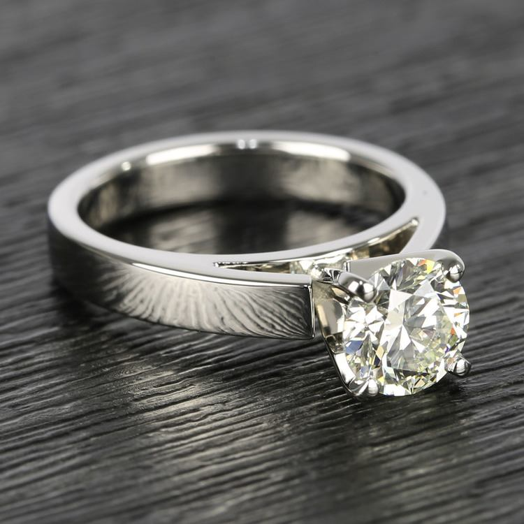 Flat Cathedral Round Diamond Solitaire Ring (1.19 ct.) angle 3